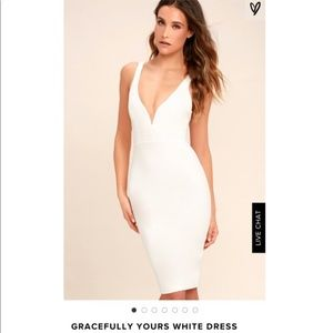 Lulus gracefully yours white bodycon dress